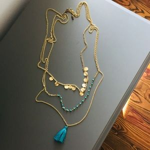 Jewelry - Gold-Tone 3-Layer Long Chain Disc Tassel Necklace